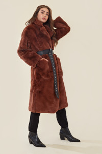 Brown Faux Fur Oversized Belted Coat