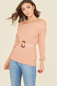 Blush Bardot Off the Shoulder Belted Knitted Jumper