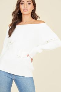 White Bardot Off the Shoulder Belted Knitted Jumper