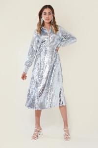 Silver Sequin Full Skirt Midi Shirt Dress