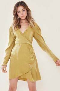 Olive Satin Wrap Front Mini Dress