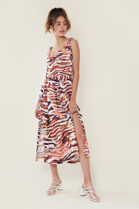 Tiger Print Pleat Split Front Midi Skirt