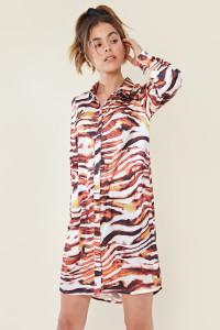Tiger Abstract Print Mini Shirt Dress