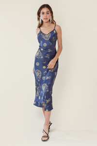 Navy Celestial Print Maxi Slip Dress