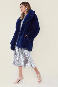Blue Soft Faux Fur Coat