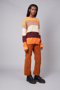 Native Youth Burnt Rust Corduroy High Waist Flare Leg Trousers