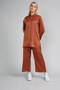 Native Youth Rust High Waist Wide Leg Trousers