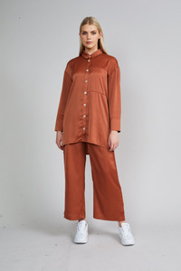 Native Youth Rust Long Sleeve Oversized Shirt