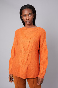 Native Youth Orange Cable Knitted Oversized Jumper