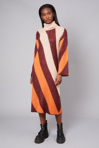 Native Youth Stripe Brushed Wool Mix Roll Neck Knitted Midi Dress