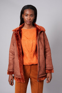 Native Youth Rust Faux Suede Aviator Jacket