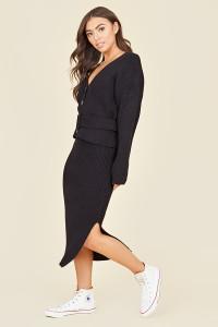 Black Chunky Knitted Ribbed Side Split Midi Skirt