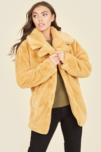 Mustard Soft Faux Fur Large Collar Teddy Coat