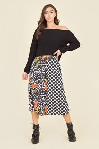 Multi Floral and Contrast Polka Dot Button Through Midi Skirt