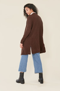 Chocolate Brown Oversized Knitted Cardigan