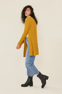 Mustard Oversized Knitted Cardigan