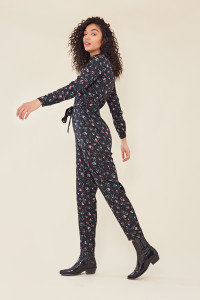 Black Ditsy Floral Print Button Down Belted Boilersuit