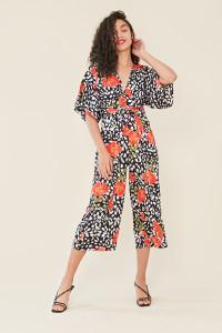 Multi Floral Print Kimono Sleeve Wrap Culotte Jumpsuit