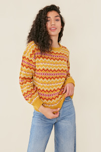 Mustard Fairisle Design Crew Neck Jumper