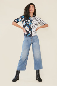 Multi Mix and Match Zebra with Floral Print Button Down Crop Shirt