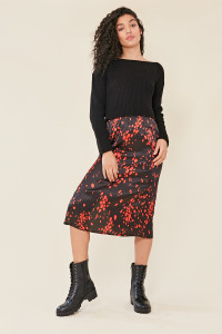 Black Satin Scattered Dalmatian Print Midi Skirt