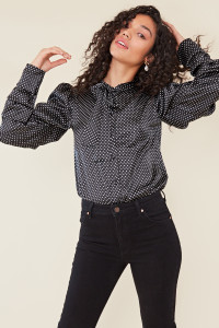 Black Satin Spot Ruched Sleeve Pussy Bow Shirt