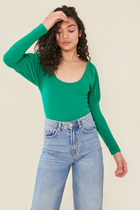 Green Scoop Neck Puff Sleeve Bodysuit