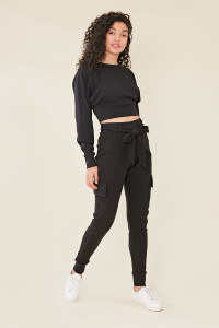 Black Pocket Detail Knitted Cargo Style Utility Trouser