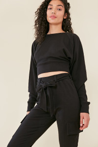 Black Balloon Sleeve Knitted Crop Jumper