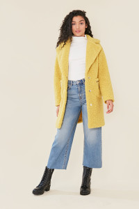 Mustard Lime Lapel and Zip Detail Borg Longline Coat