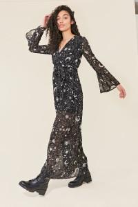 Black Galaxy Print Flared Sleeve Sheer Wrap Maxi Dress