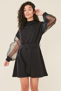 Black High Neck Organza Sleeve Self Belted Sweat Dress
