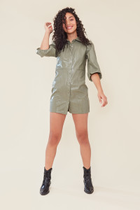 Sage Green PU Shirt Dress with Puff Sleeves