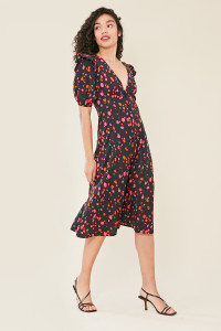 Black Abstract Splodge Print Button Detail Midi Dress