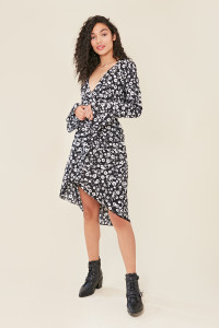 Black Ditsy Floral Print Flared Sleeve Wrap Midi Dress