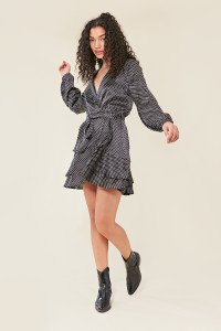 Black Satin Spot Print Ruffle Wrap Dress with Skirt