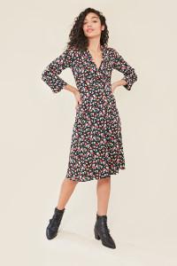 Black Floral Print Side Button Midi Dress