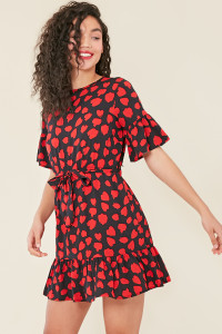 Black Red Heart Print Ruffle Hem Waist Belted Mini Dress
