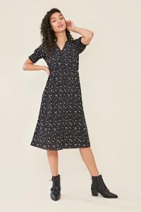 Black Heart Print Button Detail Shirred Sleeve Split Midi Dress