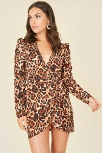 Leopard Animal Print Ruched Sleeve Wrap Mini Dress