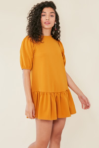 Mustard Dropped Peplum Hem Dress With Puff Sleeves