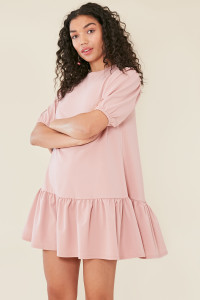 Pink Dropped Peplum Hem Dress With Puff Sleeves