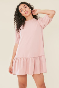 Pink Dropped Peplum Hem Dress With Puff Sleeves