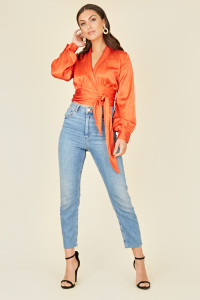 Orange Satin Revere Collar Long Sleeve Wrap Top