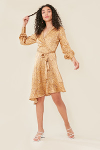 Gold Satin Animal Print Lapel Collar Wrap Midi Dress