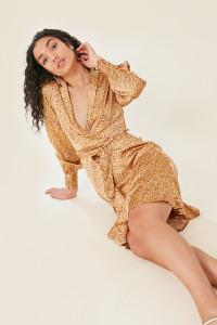Gold Satin Animal Print Lapel Collar Wrap Midi Dress