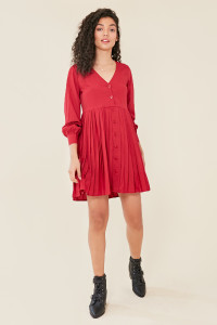 Berry Button Down Smock Dress with Pleat Skirt