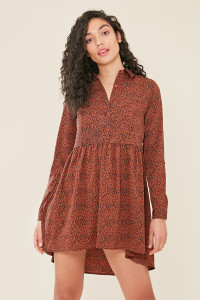 Brown Animal Print Dipped Hem Shirt Dress