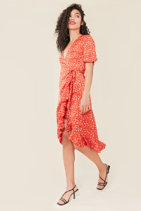 Red Base Abstract Heart Print Satin Wrap Frill Hem Midi Dress