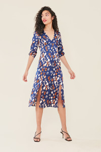 Navy Abstract Print Satin Button Down Midi Dress with Splits